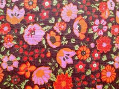 Swedish vintage fabric. Made in the 60s. Floral pattern. Scandinavian design