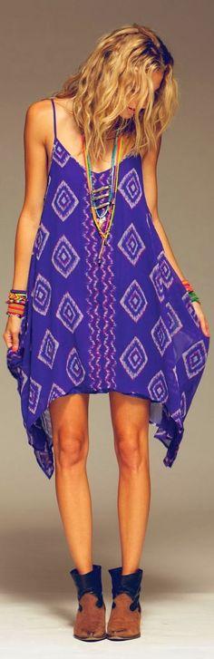 Stylish Blue Color Mini Dress Fashion