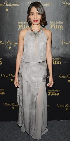 Look of the Day - January 28, 2015 - Freida Pinto in Mason by Michelle Mason from #InStyle