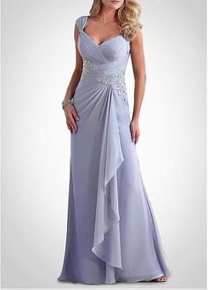 Graceful Chiffon A-line Queen Anne Neckline Empire Waist Floor Length Mother of the Bride Dresses With Lace Appliques