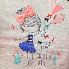 Cinnamon Joe Go Fly A Kite, Fashion Design Sketches, Book Girl, Illustration Girl, Kids Prints, Embroidered Flowers, Line Drawing, Cute Kids, Art For Kids