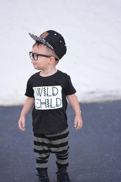 Wild Child, Toddler tee, Toddler Fashion, Monochrome, Trendy tee, Hipster Tee, Unisex Toddler Tee, Our5Loves – Our 5 Loves