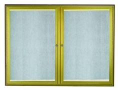 LOWFC3648LB. LED Lighted Enclosed Bulletin Board with Aluminum Waterfall Style Frame. Frame is Antique Brass. Back Panel is Neutral Burlap Weave Vinyl. 36″Hx48″W. Two  Door