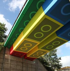 'Lego' bridge in Wuppertal, Germany. The work of street artist Megx - real name Martin Heuwold - who decided to transform the disused railway bridge