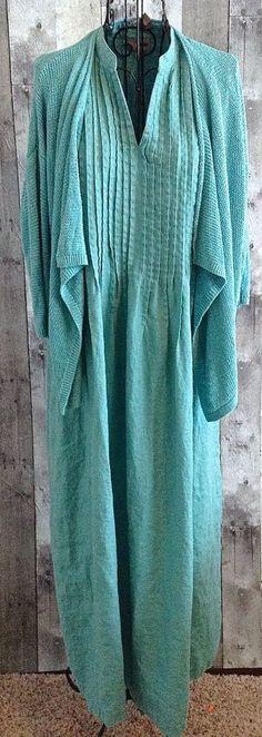 J Jill Linen 2 Piece Maxi Dress Sweater Set Linen Pleated Knit Cardigan Medium…