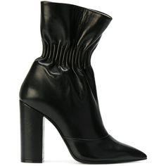 MSGM elasticated ankle boots ($560) ❤ liked on Polyvore featuring shoes, boots, ankle booties, black, msgm, leather boots, black boots, black leather ankle booties and black leather boots
