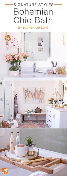 Refresh  your  bathroom to create a space you'll never  want  to leave.  A freestanding  vanity topped with  white  and grey marble  sets the tone for  the entire  color scheme.  Classic white subway  tile in the shower  and lots of neutral  decor with  gold flourishes  tie the  whole space together.  We partnered  with blogger Lauren  Lefevre  to complete this airy bathroom.  Click to shop all the  pieces you  see here.