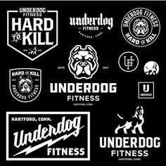 Underdog Fitness by Don't forget to share your work with or tag us Graphic Design Fonts, Typography Poster Design, Creative Poster Design, Vintage Logo Design, Graphic Design Inspiration, Vintage Logos, Typography Logo, Logo Branding, Branding Design