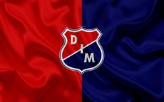Download wallpapers Deportivo Independiente Medellin, DIM, 4k, logo, Colombian football club, silk texture, red blue flag, Categoria Primera A, Medellin, Colombia, football, Liga Aguila Sports Wallpapers, Horse Racing, Fifa, Red And Blue, Soccer, Wrestling, Football, Club, Countries