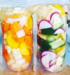 Korean Food, Fruit Salad, Love Food, Pickles, Watermelon, Food And Drink, Vegetarian, Vegan, Cooking