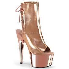 "PLEASER Sexy 7"" Heel Rose Gold Chrome Platform Stripper Peep Toe Ankle Boots | eBay Peep Toe Ankle Boots, Open Toe Boots, Closed Toe Shoes, Platform Ankle Boots, Lace Up Ankle Boots, Shoe Boots, Calf Boots, Rose Gold Metallic, Rose Gold Chrome"