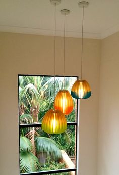 Double dipped pendant lights in stairwell. Custom designs. Mutating Creatures  #customlights #lighting
