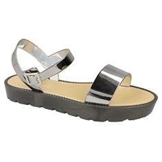 Savannah WomensLadies Metallic Flat Buckle Mule Sandals 9 US Pewter -- More info could be found at the image url.(This is an Amazon affiliate link and I receive a commission for the sales)