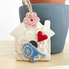 Small Ceramic bird house decoration Pottery bird house  £6.00 Handmade Decorative Items, Earthenware Clay, Ceramic Birds, Gift Guide, Hanging Decorations, Pottery, Ceramics, Rustic, Christmas Ornaments