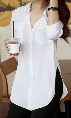 Blusa blanca manga tres cuarta