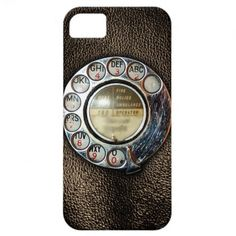 #Retro Rotary #Phone Dial On Vintage Brown Leather Case #Mobilephones