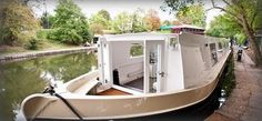 Domestic Sluttery: Sluttery Travels: On the Water, London Barge Boat, Canal Barge, Canal Boat, Houseboat Living, Houseboat Ideas, Small Houseboats, Cool Sheds, Water House, Boat House