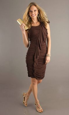 Ruched Cap Sleeves Short High Asymmetric Natural Brown Dresses