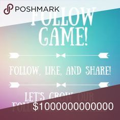 Follow Game • Let's help each other grow 💕 Rules:                                                                                 1. Follow Me!👑                                                                 2. Like this post 👍🏻                                                            3. Tag your fave Posh Friends/Followers ✋🏻           4. Follow everyone who likes this post 🚶🏻‍♀️🚶🏻‍♀️            5. SHARE THIS POST 🤗                                      Let's help each other…