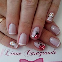 35 French Manicure designs: Check out the cute, quirky, and incredibly unique nail designs Fingernail Designs, Toe Nail Designs, Fancy Nails, Pretty Nails, Ladybug Nails, Fabulous Nails, Creative Nails, Spring Nails, Summer Nails