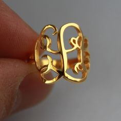 initial monogram ring, Circle Monogram Ring - 925 Sterling Silver Circle Monogram Ring -%100 Handmade