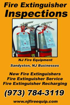 Fire Extinguisher Inspections Sandyston, NJ (973) 784-3119 Local New Jersey Businesses Discover the Complete Fire Protection Source.  We're NJ Fire Equipment.. Call us today!