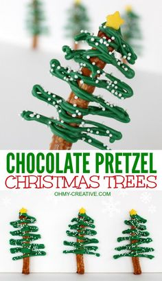 These fun Chocolate Pretzel Christmas Trees are fun to make for any holiday party  |  http://OHMY-CREATIVE.COM