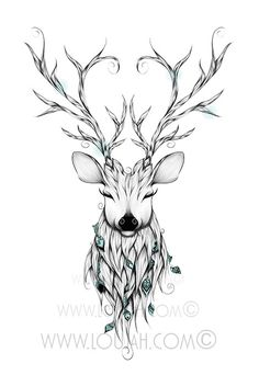 LouJah - Poetic Deer #art #illustration #draw #drawing #doodle #stretch #boho…