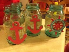 Not saying we are doing a nautical theme for Mandy's shower, but just like the idea/using a cute something to hang on the jar. Baby Shower Parties, Baby Boy Shower, Juegos Baby Shower Niño, Nautical Centerpiece, Centerpieces, Anchor Baby Showers, Sailor Theme, Nautical Party, Party Themes