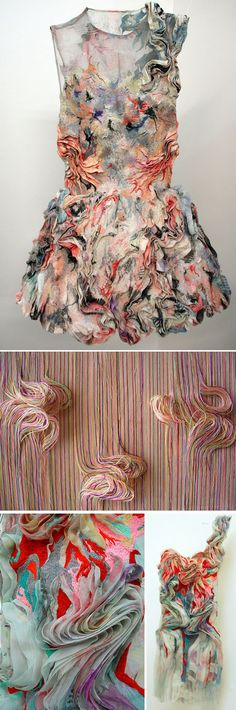 Fabric manipulation and textile design - by Marit Jujiwara fabric textile manipulation fashion design inspiration Fashion Design Inspiration, Mode Inspiration, Style Work, Mode Style, Textile Texture, Textile Fabrics, Fabric Textures, Costume Original, Textile Manipulation