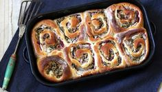Turkey, stuffing and cranberry Chelsea buns