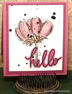 Colouring with chalks and Darkroom Door Fine Flowers and Whimsical Words Rubber Stamps!