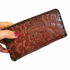 Leather Wallet for Women , Handmade , With zipper, Boho, skull , Large Wallet , for Cards, Gift for Her by aymxleather on Etsy Leather Tooling, Cow Leather, Cowhide Leather, Leather Wallet, Handmade Wallets, Large Wallet, Wallets For Women Leather, Brown Purses, Leather Design