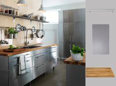 IKEA Österreich, Inspiration, Küche mit RUBRIK Edelstahlfronten und NUMERÄR Arbeitsplatte aus massiver Eiche