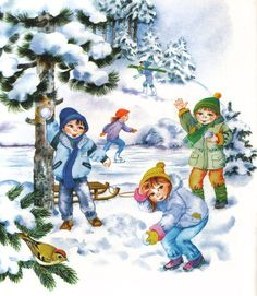Сюжетные картинки с детьми. Зима Winter Images, Winter Pictures, Christmas Pictures, Illustrations, Children's Book Illustration, Drawing For Kids, Art For Kids, Preschool Decor, Picture Composition