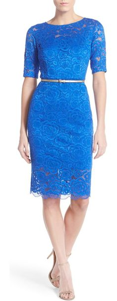 petite   belted lace sheath dress by Ellen Tracy. Corded floral lace finely textures this pencil-cut dress offering tasteful peeks of skin at the neckline, sleeves and...