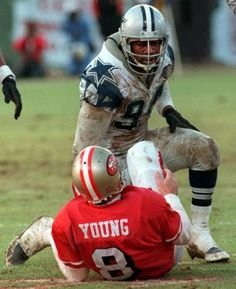Charles Haley | Charles Haley gets up after sacking 49ers QB Steve Young. Haley ...