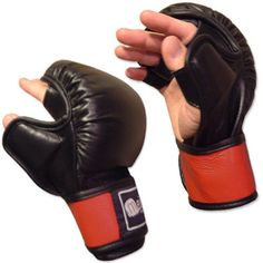Open Palm Bag Training Gloves Black Red Meister MMA Boxing Leather All Sizes | eBay