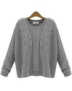 Grey Long Sleeve Fringe Cable Knit Sweater US$32.46