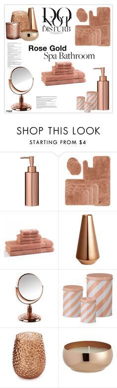 """""""Rose Gold Bathroom Decor"""" by marion-fashionista-diva-miller ❤ liked on Polyvore featuring interior, interiors, interior design, home, home decor, interior decorating, Royal Velvet, Kassatex, H&M and ferm LIVING"""
