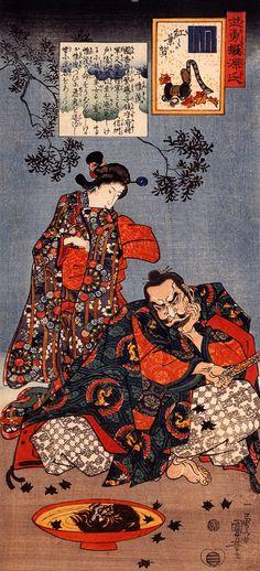 """Taira Koremochi spies the reflection of a female demon"", by Utagawa Kuniyoshi (1797-1861), Japan"