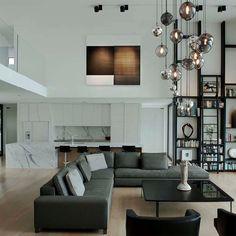 Home Interior Design: High Ceiling Decorating Ideas Home Living Room, Living Room Designs, Living Room Decor, Living Spaces, Living Area, Condo Living, Interior Modern, Home Interior Design, Interior Architecture