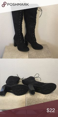 Boots Black faux suede knee high lace front boots. 4' heel. Wore once, no box. Side zippered. leila stone Shoes Lace Up Boots