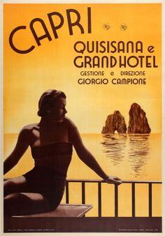 Capri Grand Hotel Quisisana 1938 - original vintage travel advertising poster listed on AntikBar.co.uk