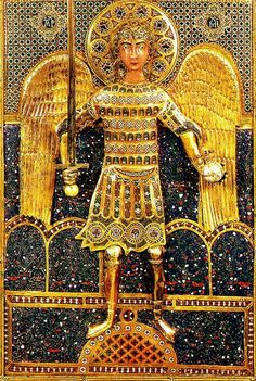 Icon with full-length portrait of St. Michael Detail of the central panel : Late 11th or early 12th century, Constantinople. Materials: gold, silver gilt, cloisonne enamel on gold. Currently in Venice at the Procuratoria di San Marco.