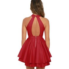 Dress Rehearsal Red Skater Dress ($59) ❤ liked on Polyvore featuring dresses, red cut-out dresses, cut-out skater dresses, cut out dresses, red flared skirt and skater skirt dress