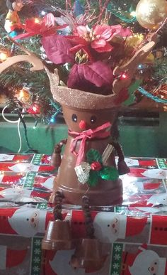 Hey, I found this really awesome Etsy listing at https://www.etsy.com/listing/215056886/christmas-rudolph-clay-pot-shelf-sitter
