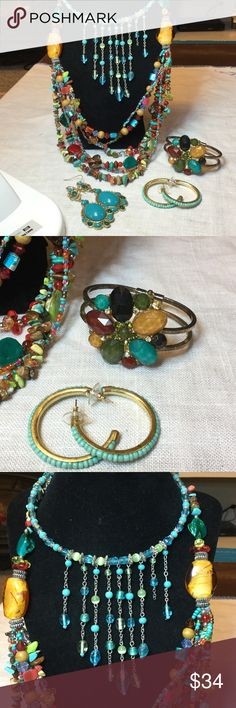 Great colorful jewelry bundle New without tags..all items..glass beads..Turquoise...Mother of pearl lux Jewelry