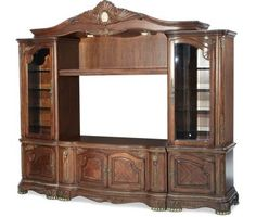 Honey Walnut Finish Entertainment Wall TV Stand with Audio Piers