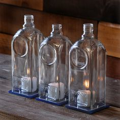 Candle Centerpiece - Recycled Jewel Of Russia Vodka Bottle Candle Hurricane